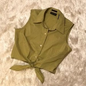 Olive Green Button Down Crop Top